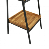 Collapsible metal ladder display stand with wooden tray shelving