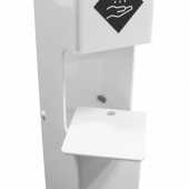 This sanitizer dispenser stand features a removable drip tray
