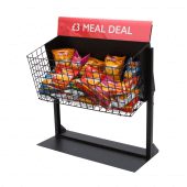 A wire dump bin merchandiser is perfect for meal deal merchandising