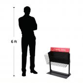 Wire dump bin merchandiser with adjustable height
