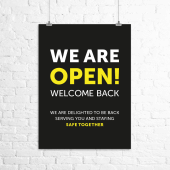 'We are open!' poster
