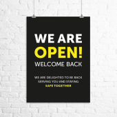 """""""We Are Open. Welcome Back."""" business posters"""