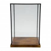 Tall rectangular wood and glass display case