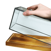 Wood and glass display case in 3 sizes