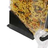 Dry food dispenser comes with a base to secure to a counter