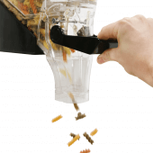 Lever operated gravity bin is ideal for dry food dispensing