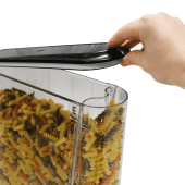 Dry food dispenser with a rubber sealed lid for freshness