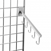 Gridwall rail arm with five sloping hooks