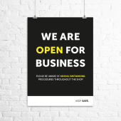 'We are open for business' poster