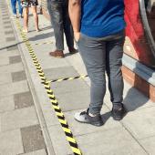 Adhesive floor hazard tape and sticky hazard tape