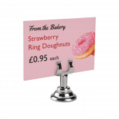 Harp Clip Sign Holder, great for deli, bakery and coffee shop displays