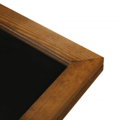 The hinged poster frame is stained a stylish dark oak colour