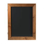 The wood poster case includes an integrated wood chalkboard frame