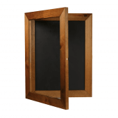 The hinged poster frame is fitted with an acrylic front panel