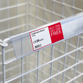Data strip for glass display fronts and wire baskets