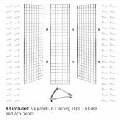 Grid mesh triangular display stand with hooks kit