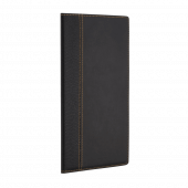 The bill presenter is made from textured faux leather