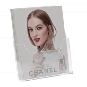 A4 leaflet holder for on counters, walls and slatwall