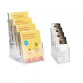 Multipurpose four tier leaflet holder for 1/3 A4 and A5 brochures