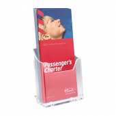 1/3 A4 (third A4) leaflet holder for on counters, walls and slatwall