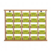 Wooden leaflet display with 25 pockets
