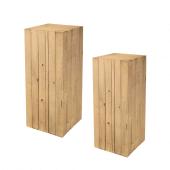 Light Wood Wooden Plinth Display Set