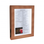 Copper menu display case with LED lighting