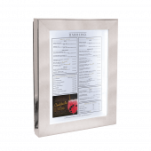Polished steel menu display case with LED lighting