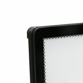 Constructed from black coated aluminium and tempered glass