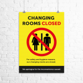 'Changing rooms closed' printed poster