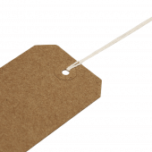 Reinforced eyelets on these string tags add extra strength