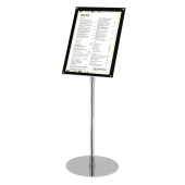 Chrome and Acrylic Floor Standing Poster Holder portrait