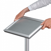 Freestanding menu stand can be rotated to either orientation