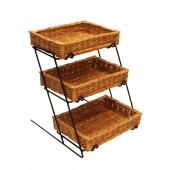 3 tier wicker basket stand