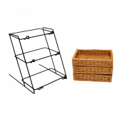 Countertop Tiered Wicker Basket Display with removable wicker trays