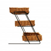 Three tier wicker display basket perfect for countertops in cafes