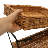 Three tier wicker basket display stand with removable wicker trays