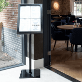 Freestanding illuminated menu stand