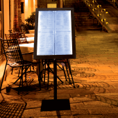 Illuminated menu stand with backlit display