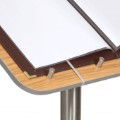 Wood effect menu stand with stainless steel components