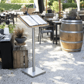 Restaurant lectern with steel base and stand