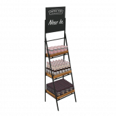 Folding Ladder Display Stand With Chalkboard Header