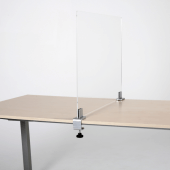 Desk divider screen with mid-edge clamps sits across a countertop