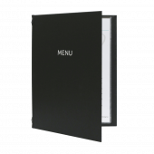Charcoal menu folders with buckram cover and foil print