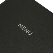 Charcoal menu cover with silver foil print