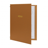 Copper menu cover with buckram cover and foil print