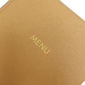 Copper finish menu cover with gold foil