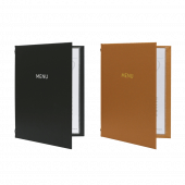 Buckram hard menu covers with foil print in a choice of colours