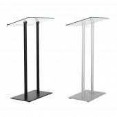 Tempered Glass Podium with metal legs and base