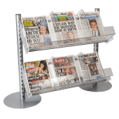 Newspaper Stand In-Queue Merchandising System